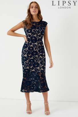 Next Lipsy All Over Lace Flute Hem Midi Dress - 4
