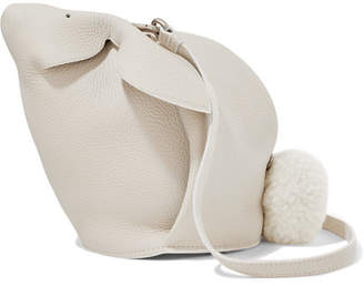 Loewe Bunny Mini Shearling-trimmed Textured-leather Shoulder Bag - White