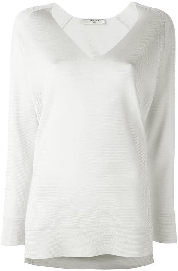 LanvinLanvin collarless V-neck jumper