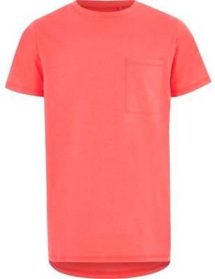 River Island Boys coral fluro pocket short sleeve T-shirt