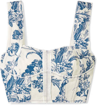 Oscar de la Renta Cropped Printed Cotton-blend Twill Bustier Top - Blue