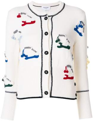 Thom Browne Classic Crewneck Cardigan With Crochet Ice Skate Applique In Fine Merino Wool