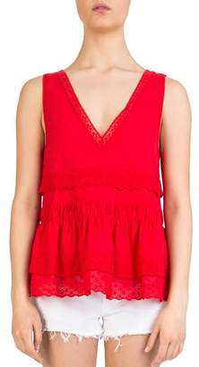 The Kooples Ruffled Lace-Detail Tank