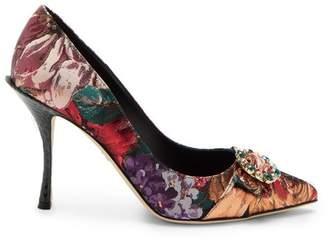Dolce & Gabbana Crystal Embellished Floral Brocade Pumps - Womens - Multi
