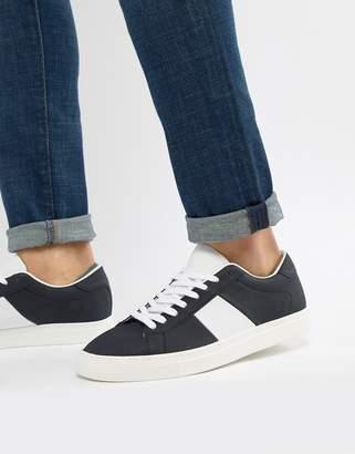 Pull&Bear Suede Sneaker With Side Stripe In Navy
