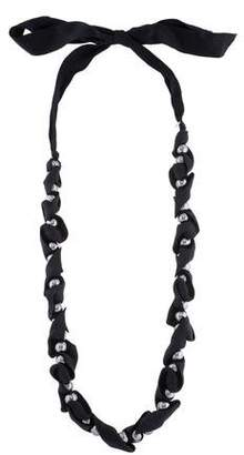 Lanvin Ribbon & Faux Pearl Necklace