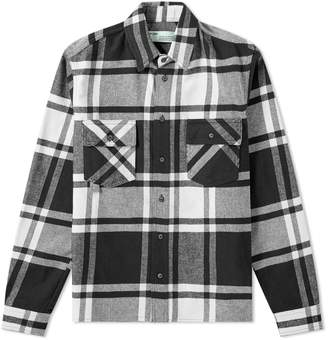76f2c18f2c7e Off-White Off White Stencil Diagonals Checked Flannel Shirt