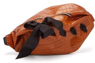 Marques Almeida Marques'almeida - Bow Detailed Crocodile Effect Leather Belt Bag - Womens - Brown Multi
