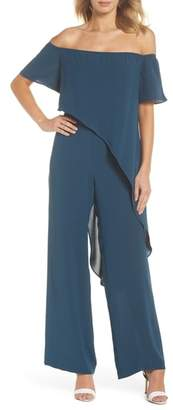 Adrianna Papell Off the Shoulder Crepe Jumpsuit