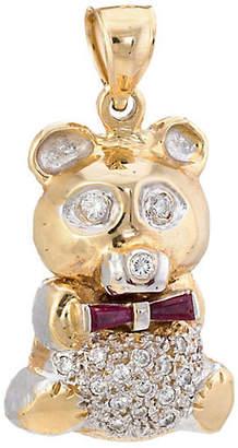 One Kings Lane Vintage Diamond & Ruby Teddy Bear Pendant - Precious & Rare Pieces