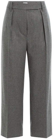 Brunello Cucinelli Cotton-Wool Blend Wide Leg Cropped Pants