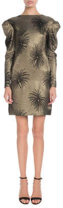 Victoria Beckham Victoria Pouf-Sleeve Fireworks Metallic-Jacquard Shift Dress