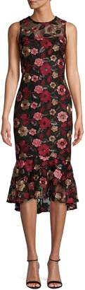 Calvin Klein Floral Embroidered Ruffle Hem Midi Dress