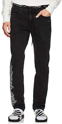 Off-White Men's Gothic-Embroidered Slim Straight Jeans - Black