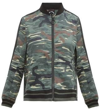 The Upside Army Camouflage Print Linen Blend Jacket - Womens - Green Print