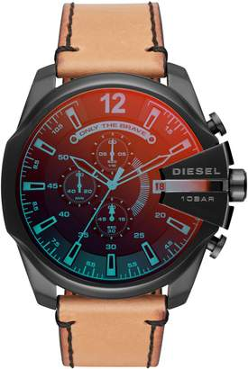 Diesel Mega Chief Chronograph Leather Strap Watch, 51mm