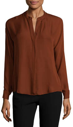 Vince Silk Split-Neck Top