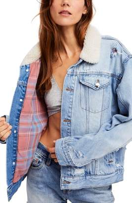 Free People Fleece & Flannel Lined Trucker Jacket
