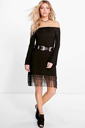 boohoo Arabella Off The Shoulder Fringe Dress
