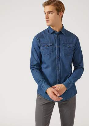 Emporio Armani Denim Shirt With Epaulettes