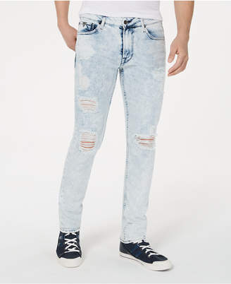 GUESS Men Skinny-Fit Stretch Bleached Destroyed Jeans
