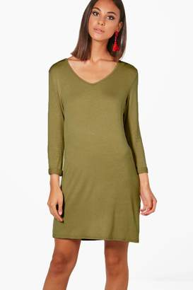 boohoo V Neck T-Shirt Shift Dress