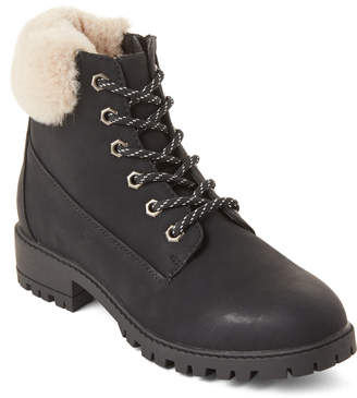 Madden-Girl Black Fresh Lace-Up Boots