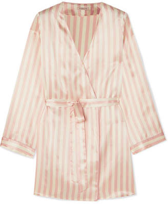 Morgan Lane - Langley Striped Silk-charmeuse Robe - Blush