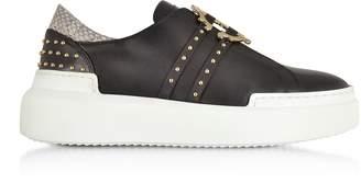 Roberto Cavalli Black Signature Slip on Sneakers w/Studs