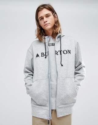 Burton Snowboards Oak Full Zip Hoodie Logo Front In Grey Marl
