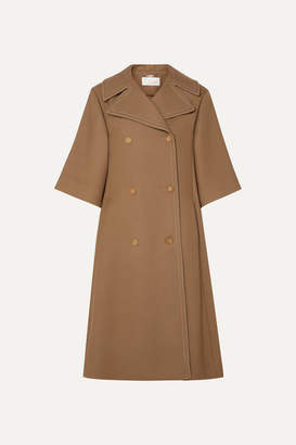 Chloé Oversized Double-breasted Wool And Silk-blend Twill Coat - Brown