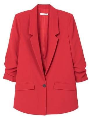 MANGO Ruched sleeves blazer