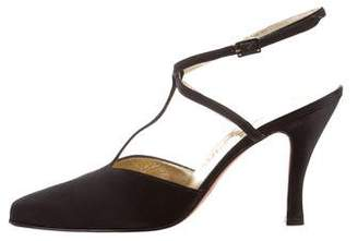 Salvatore Ferragamo Satin T-Strap Pumps