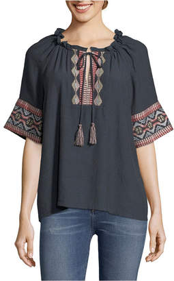 John Paul Richard Embroidered Peasant Blouse