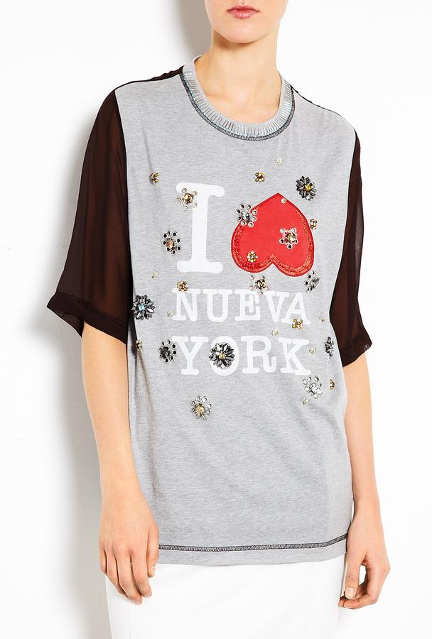 3.1 Phillip Lim Grey Nueva York Floral Eyelet Embellished T-shirt