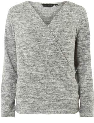 Dorothy Perkins Womens Grey Wrap Front Top