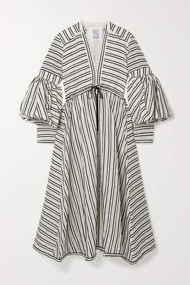Rosie Assoulin Lantern Grosgrain-trimmed Wool And Silk-blend Organza Midi Dress - Off-white