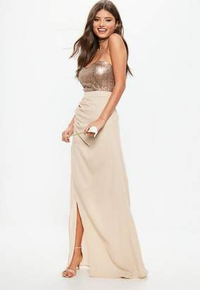 Missguided Bridesmaid Nude Sequin Bandeau Chiffon Split Hem Maxi Dress