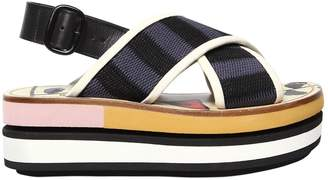 Marni 80mm Cotton Crossover Wedge Sandals
