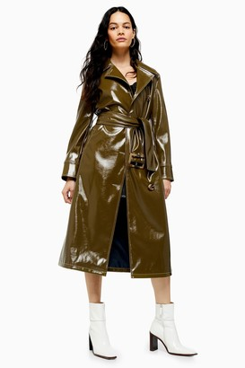 Topshop Womens Contrast Vinyl Trench - Olive