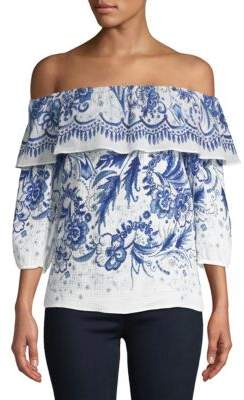 Bailey 44 Farmers Market Vintage Floral Off-The-Shoulder Cotton Top