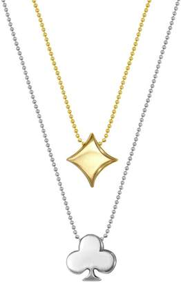 Alex Woo 14K Yellow Gold & Sterling Silver Little Vegas Diamond & Clover Pendant Necklace - Set of 2