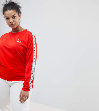 Puma Exclusive To ASOS Plus Sweatshirt With Taped Side Stripe In Red