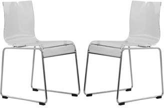 clear LeisureMod Lima Modern Acrylic Chair, Clear, Set of 2