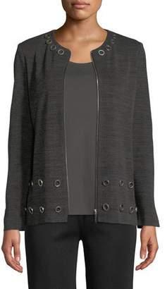 Misook Knit Zip-Front Jacket w/ Grommets