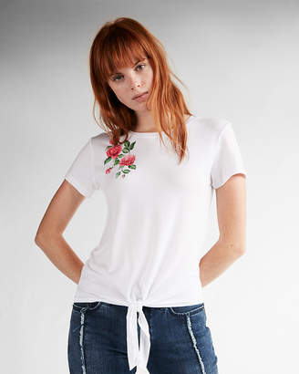 Express Petite Floral Front Knot Crew Neck Tee