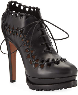 Alaia Cutout Platform Leather Booties