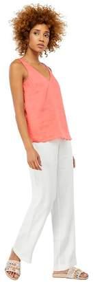 Monsoon - White 'Penelope' Regular Linen Trousers