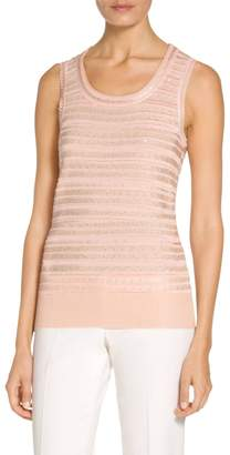 St. John Welted Sequin Knit Scoop Neck Sleeveless Shell