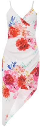 Quiz Cream Floral Print Wrap Front Dress